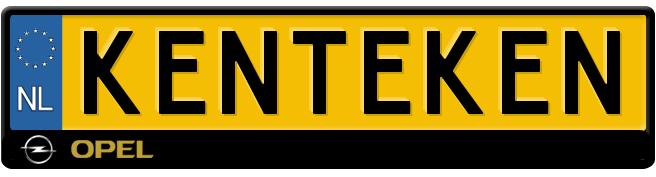 opel logo en tekst zwarte kentekenplaathouder
